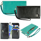 For Smart Phone Luxury Wallet Leather Snap Pouch Wrist Strap Purse Case Cover