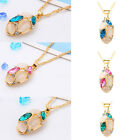 Women's Elegant Oval Rhinestone Opal Pendant Necklace Earrings Jewelry 3 Colors