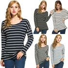 Stylish Ladies Women Casual Loose Striped Top O-Neck Long Sleeve Leisure EA