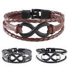 PU Leather 8 Shaped Buckle Multilayer Woven Bracelet Charm Cuff Bangle New 1PC