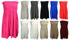 NEW LADIES PLUS SIZE ELASTICATED SHEARING BANDEAU TUNIC DRESS TOP SIZE 14-18