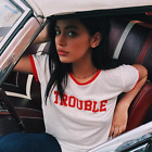 Women Letter Printed Loose T-shirt Ladies Short Sleeve Casual  Shirt Tops Blouse