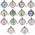 Hot Antique Women Bronze Chain Tree Of Life Letter Cabochon Pendant Necklace