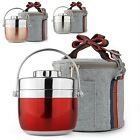 Newly Lunch Box 2 Tier Thermal Round Lunchbox Warm Keep Food Container With Bag