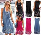 UK Sexy Womens Sleeveless Flower Blouse Mini Dress Summer Dresses Beach Sundress