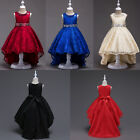 Kids Flower Girl Bow Dress Formal Lace Trailing Gown for Wedding Bridesmaid Prom