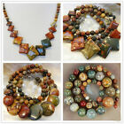 """6-20mm Natural Picasso Jasper Round /Coin/Square Beads Pendants Necklace 18"""" AAA"""