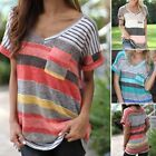 Women's Ladies Loose Casual Striped Tops Ladies Short Sleeve Boho Shirts Blouse