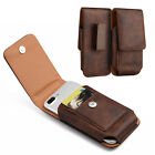 Vertical Luxurious Leather Pouch Belt Clip Holster Clip Case For Phones BROWN