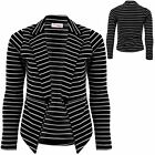 Ladies Long Sleeve Black White Stripe High Low Zip Open Front Jacket Blazer