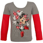 Disney Little Girls Red Minnie Mouse Plaid Print Long Sleeved Top 2-4T