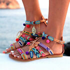Ethnic Style Women Sandals Gladiator PU Leather Flat Shoes Pom-Pom Sandals US