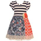 Counting Daisies Little Girls Grey Ivory Striped Floral Print Dress 2T-6X
