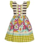 Counting Daisies Little Girls Gray Polka Dots Lace Bow Floral Dress 2T-6X