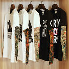 Men Long Tattoo Sleeve Shirts Blouse Summer Casual Party Cotton T-shirt Top Tees