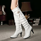 Women Round Toe Booties Knee High Boots Metal Chinese Knot Rhinestone Shoes Chic