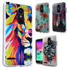 For LG Harmony M257 Brushed Metal HYBRID Rubber Case Phone Cover + Screen Guard