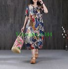 Vinatge Chic Chinese Traditional Qipao Ink Painting Linen Womens Dress Oversized