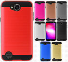 For LG X Charge Brushed Metal HYBRID Rubber Case Phone Cover Accessory