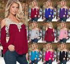 Plus Size Sexy Womens V-Neck Lace Blouse Long Sleeve Tops Strappy T Shirt