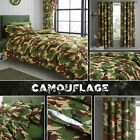 Camouflage Army Green Brown Duvet Quilt Cover Bedding Set Curtain Basket Storage