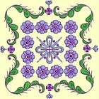 Anemone Quilt Squares 3- DESIGN 1- Anemone Machine Embroidery Singles In 4 Sizes