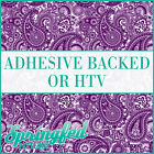 Purple & White Paisley Pattern Adhesive Craft Vinyl or HTV for Crafts or Shirts!