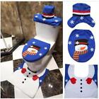 3pcs Fancy Snowman Toilet Seat Cover and Rug Bathroom Set Christmas Decor NEW S