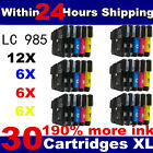 30 Compatible LC980 / LC1100 Ink Cartridges for Brother Printers Black + Colour