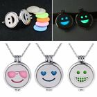 Emoji Aromatherapy Oil Perfume Diffuser Locket Pendant Necklace+7pcs Cotton Pads