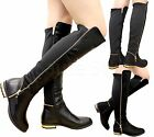 Ladies Womens Thigh Over Knee High Stretched Zip Gold Trim Heel Boots Shoes Size