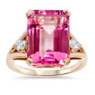 18x13 Pink Topaz & 1/4 ct Diamond Ring 14K Rose Gold