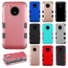 For Motorola Moto E4 IMPACT TUFF HYBRID Hard Case Skin Phone Cover +Screen Guard