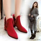 Chic Women Pointy Toe Block Heels Fur Top Ankle Boots Sexy Elastic Leather Shoes