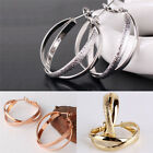 Matte Gold Plated 2 Layers Eye-catching Ladies Wedding Smart Hoop Earrings Chic