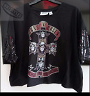 PRIMARK Ladies Official GUNS'N'ROSES Sequined Cropped T-Shirt Top Free P&P BNWT