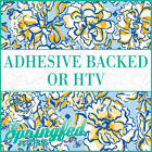 LP Inspired Floral Pattern #1 Royal Blue & Gold Adhesive Vinyl or HTV Crafts