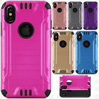 For Apple iPhone 8 Combat Brushed Metal HYBRID Rubber Hard Case Phone Cover