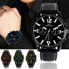 Mens Waterproof Military Sport Watches Black Silicone Quartz Analog Wrist Watch