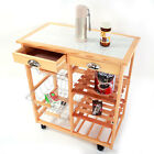 Wooden Kitchen Trolley Cart Dining Storage Drawers Shelves Stand Durable Rolling