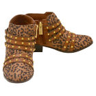 Jessica Simpson Girls Tan Leopard Print Buckled Strap Detail Boots 13-4 Kids