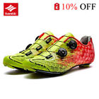 Santic Professional Carbon Fiber Bottom Road Riding Lock Shoes Yellow Red New