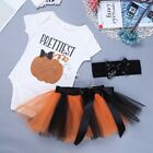 Baby Girl My First Halloween Tutu Skirt Costume Toddler Pumpkin Dress Up Outfits