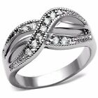Womens Triple Row Clear CZ in Cross X style Stainless Steel Non Tarnish Band