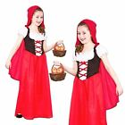 GIRLS RED RIDING HOOD LONG FANCY DRESS COSTUME BOOK DAY FAIRYTALE NURSERY OUTFIT