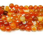 Striped Candy Orange Agate Faceted Gemstone Beads~Guaranteed