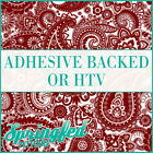 Maroon & White Paisley Pattern Adhesive Craft Vinyl or HTV for Crafts or Shirts