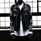 ByTheR Men's Chic Black Ethnic Pearl Beads Custom Giza Style Fall Trucker Jacket