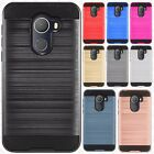 For Alcatel A30 Fierce Brushed Metal HYBRID Rubber Case Phone Cover Accessory