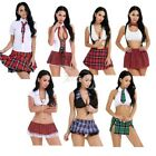 Women Plaid School Girl Halloween Cosplay Sexy Dress Costume Fancy Dress Uniform